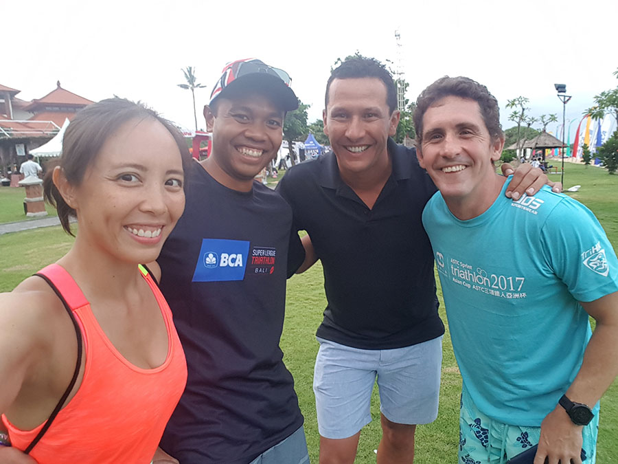 """MX Endurance members with our founder Chris """"Macca"""" McCormack at Super League Bali"""