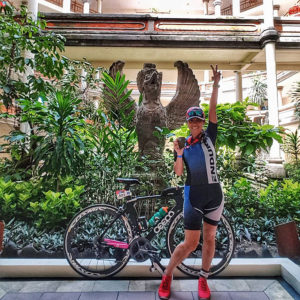 celebrating at Super League Triathlon Bali