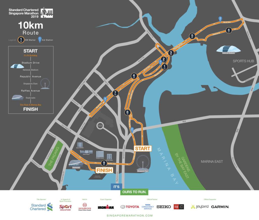 Standard Chartered Singapore Marathon 2019 10Km route