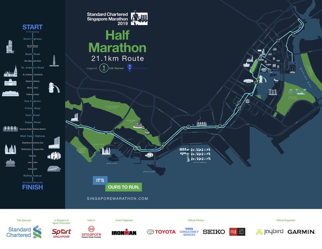 Standard Chartered Singapore Marathon 2019 21Km route