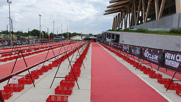 New Clark City Triathlon transition area in front of Aquatic Center