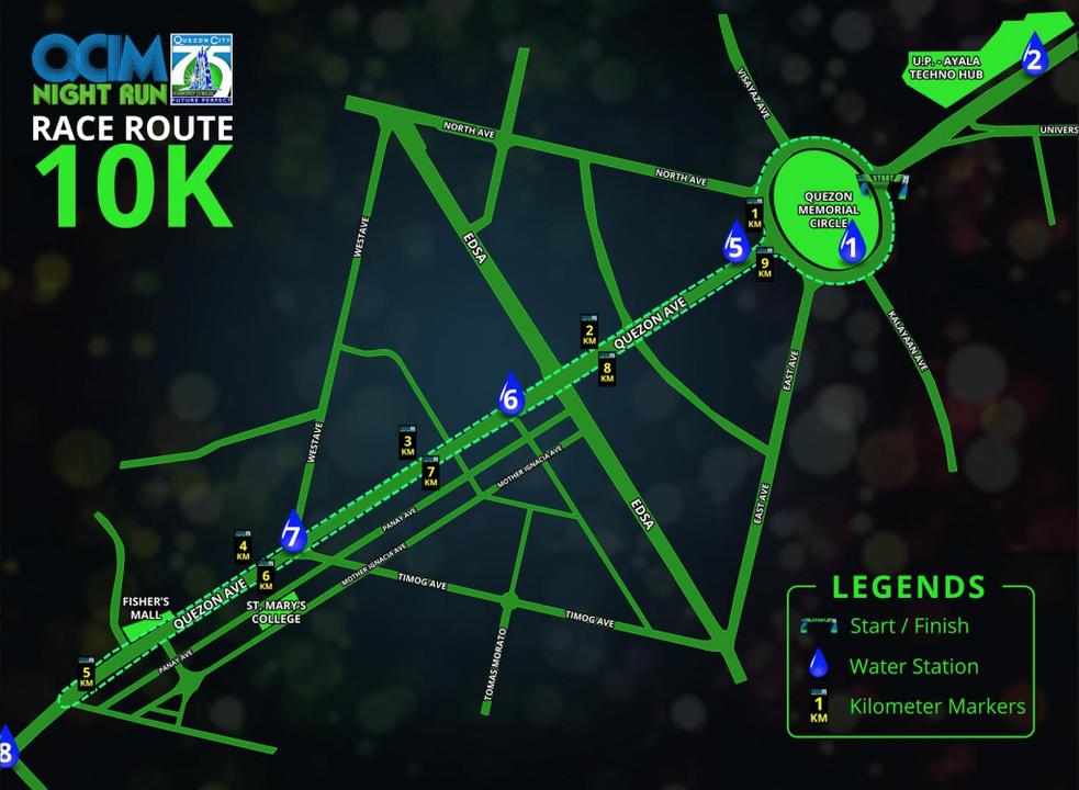 QCIM Night Run 10K route map