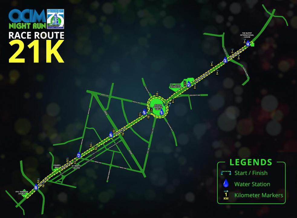 QCIM Night Run 21K route map