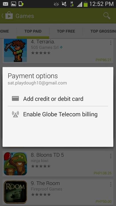 Globe direct carrier billing