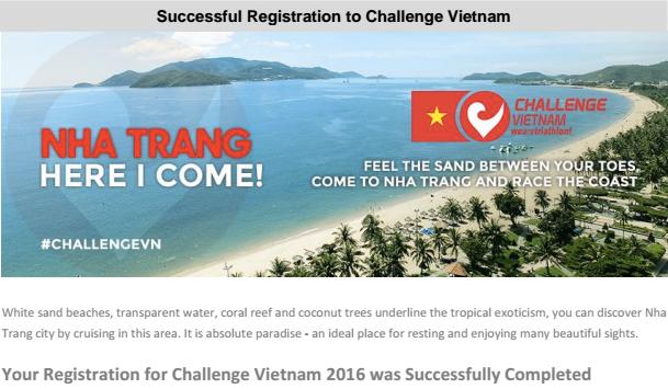 registered for Challenge Vietnam on September 11