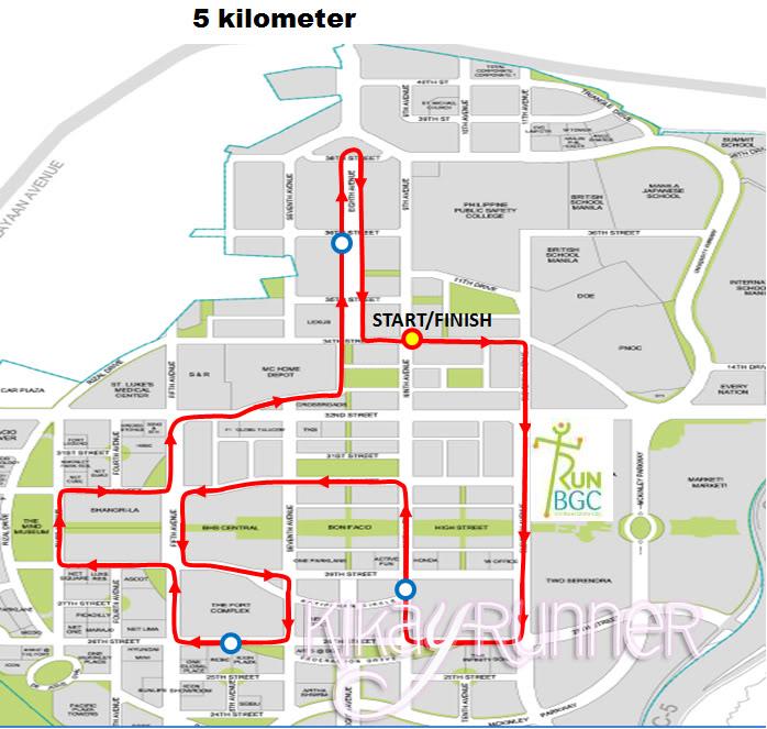 Run BGC 5K Route Map