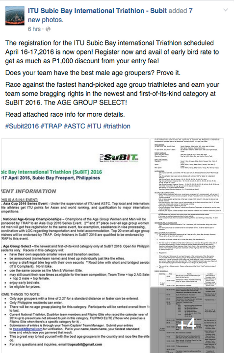ITU Subic Bay International Triathlon Age Group Select