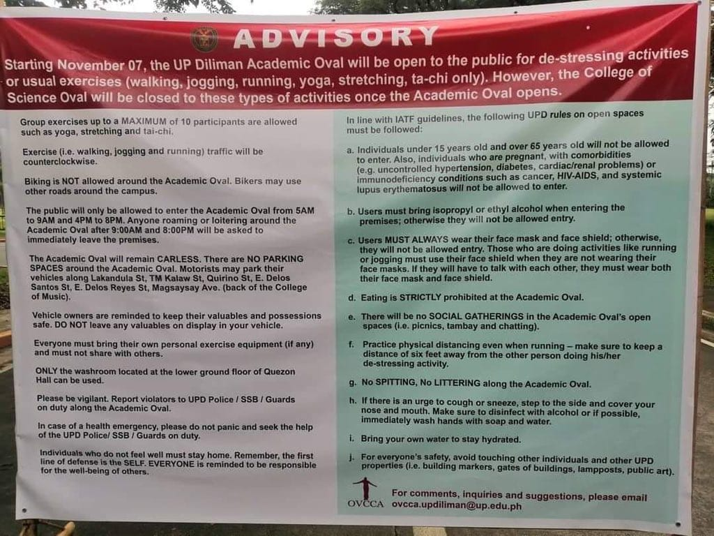 UP Diliman Academic Oval exercise guidelines